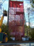 Scaffolding tower for abseiling